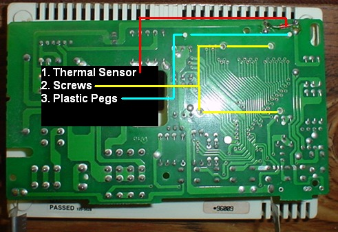 repairing a maple chase 9600 or robershaw 9600 thermostat backside of the circuit board